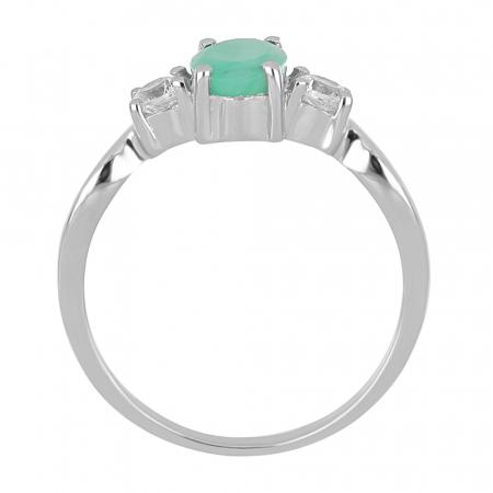 Inel argint elegant cu emerald si zirconiu alb - IVA0087 [3]