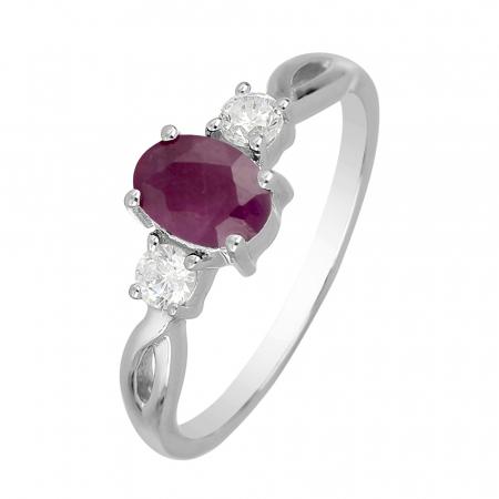 Inel argint elegant cu rubin si zirconiu alb - IVA0089