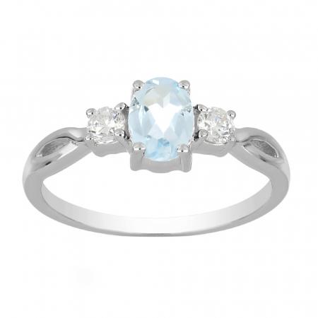 Inel argint elegant cu topaz si zirconiu alb - IVA00902