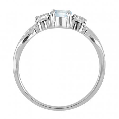 Inel argint elegant cu topaz si zirconiu alb - IVA00901