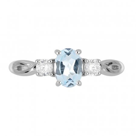 Inel argint elegant cu topaz si zirconiu alb - IVA00903