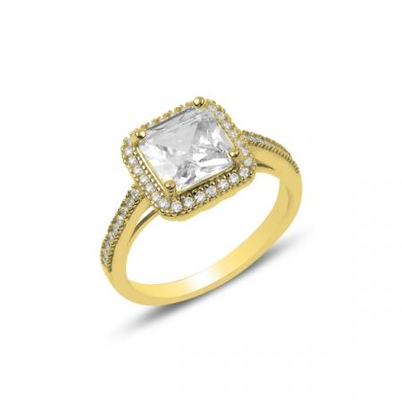 Inel argint elegant cu zirconii albe, placat cu aur