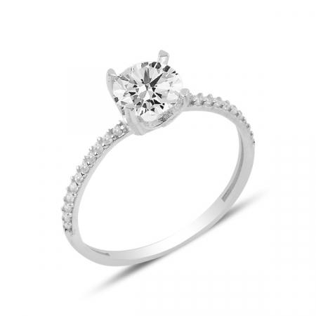 Inel argint elegant cu zirconii albe, placat cu rodiu