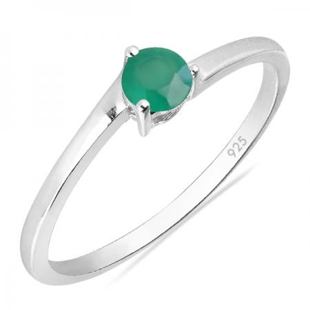 Inel argint Elinor, 925, cu agat verde - IVA0026