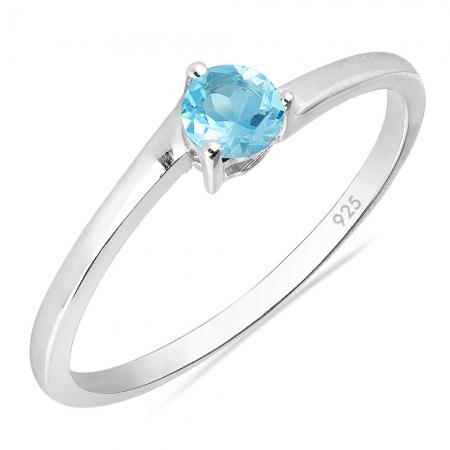 Inel argint Elinor, 925, cu topaz albastru elvetian - IVA0027