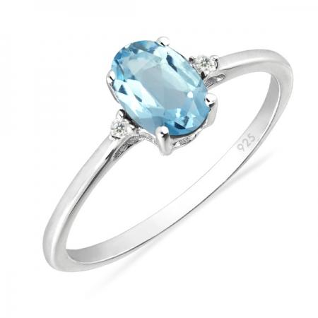 Inel argint Elisabeta, 925, cu topaz cer albastru si zirconiu alb - IVA0049