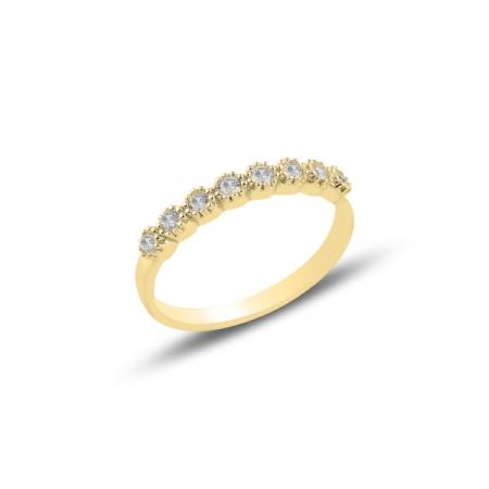 Inel argint Etermity cu zirconii albe, placat cu aur