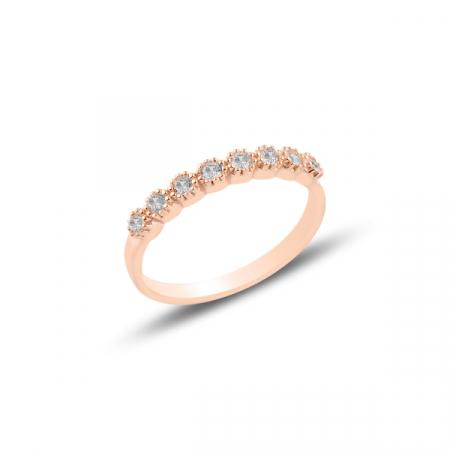 Inel argint Etermity cu zirconii albe, placat cu aur roz