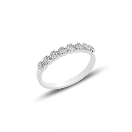 Inel argint Etermity cu zirconii albe, placat cu rodiu