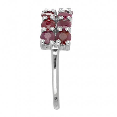 Inel argint Eternity cu 2 randuri de pietre de rubin - IVA01024