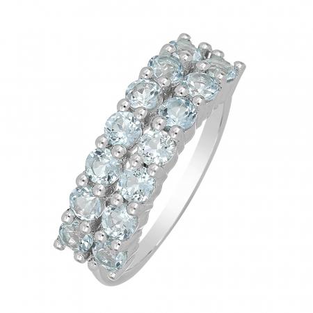 Inel argint Eternity cu 2 randuri de pietre topaz cer albastru - IVA0103