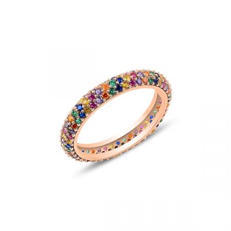 Inel argint Eternity cu 3 randuri de zirconii multicolore, placat cu aur roz
