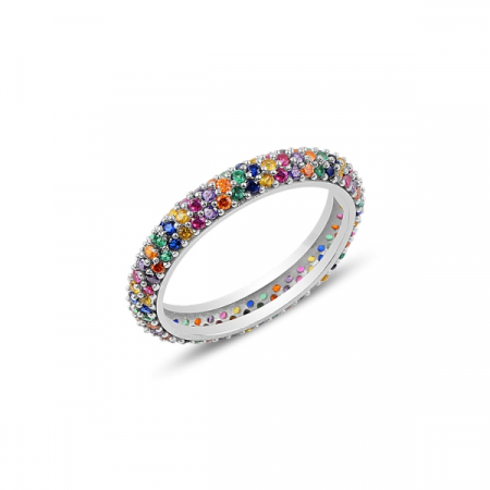 Inel argint Eternity cu 3 randuri de zirconii multicolore, placat cu rodiu