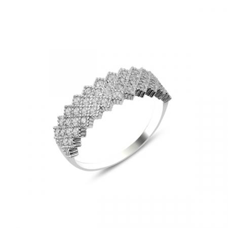 Inel argint Eternity cu 4 randuri de zirconii albe, placat cu rodiu