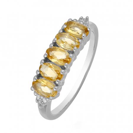 Inel argint eternity cu 5 pietre de citrin - IVA0097