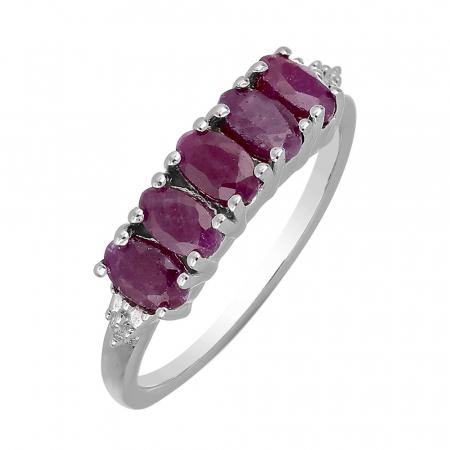 Inel argint eternity cu 5 pietre de rubin - IVA0099