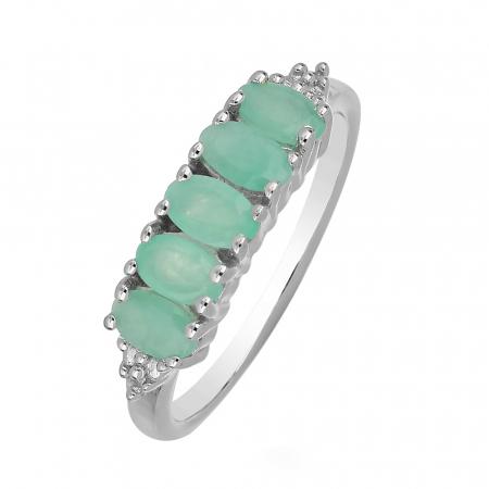 Inel argint eternity cu 5 pietre de smarald - IVA0098