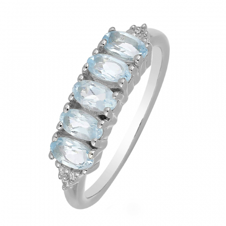 Inel argint eternity cu 5 pietre de topaz - IVA0100