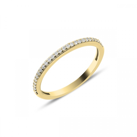 Inel argint Eternity cu zirconii albe, placat cu aur