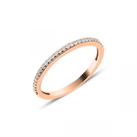 Inel argint Eternity cu zirconii albe, placat cu aur roz