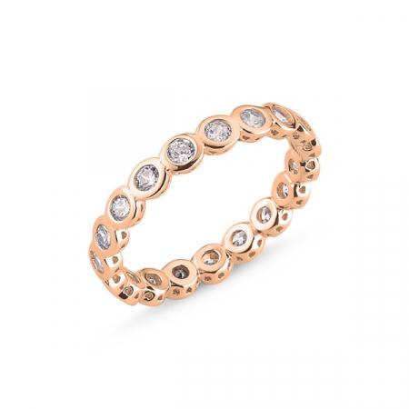 Inel argint Eternity cu zirconii de 2 mm, placat cu aur roz