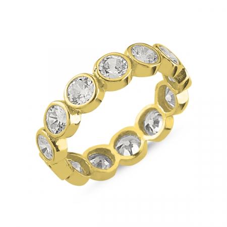 Inel argint Eternity cu zirconii de 4 mm, placat cu aur