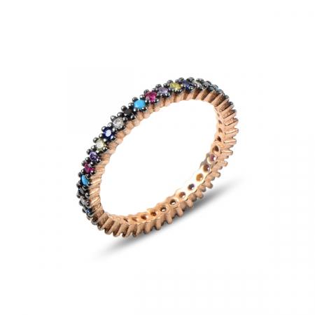 Inel argint Eternity cu zirconii multicolore, placat cu aur roz - ITU0230