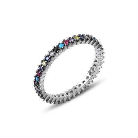 Inel argint Eternity cu zirconii multicolore, placat cu rodiu - ITU0229