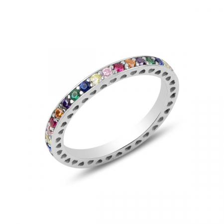Inel argint Eternity cu zirconii multicolore, placat cu rodiu - ITU0234