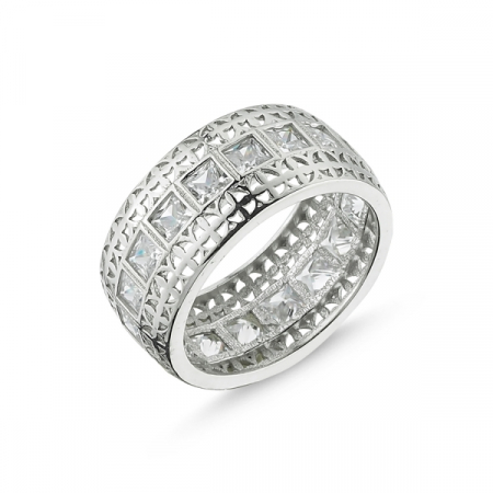 Inel argint Eternity cu zirconii patrare