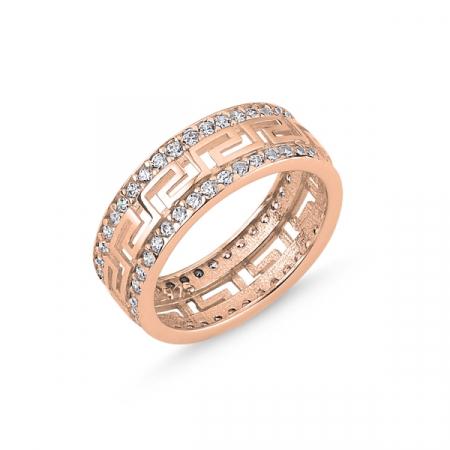 Inel argint Eternity decupat, cu zirconii, placat cu aur roz