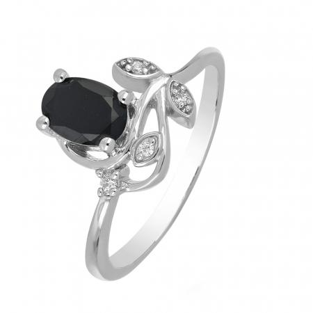 Inel argint floare cu onix si cristale de zirconiu alb - IVA0091