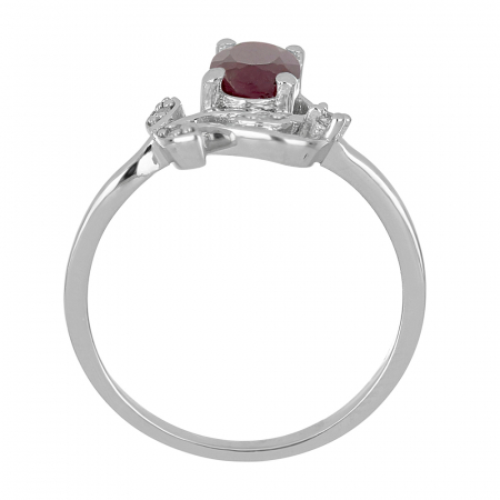 Inel argint floare cu rubin si zirconiu alb - IVA00923
