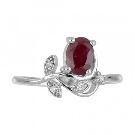 Inel argint floare cu rubin si zirconiu alb - IVA00922