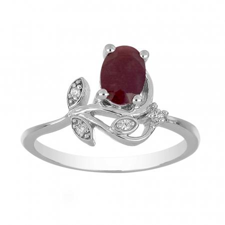 Inel argint floare cu rubin si zirconiu alb - IVA00921