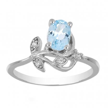 Inel argint floare cu topaz si cristale de zirconiu alb - IVA0093 [1]
