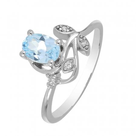 Inel argint floare cu topaz si cristale de zirconiu alb - IVA0093