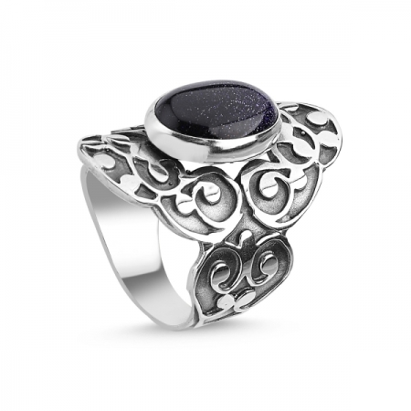 Inel argint Handmade cu Piatra Soarelui Albastra