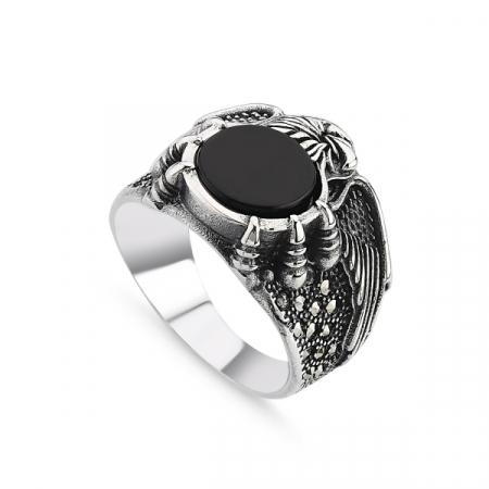 Inel argint handmade cu vultur, agat VERDE si marcasite