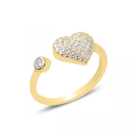 Inel  reglabil din argint Heart cu zirconii albe, placat cu aur - ITU0232