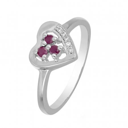 Inel argint inima cu 3 pietre de rubin - IVA0108