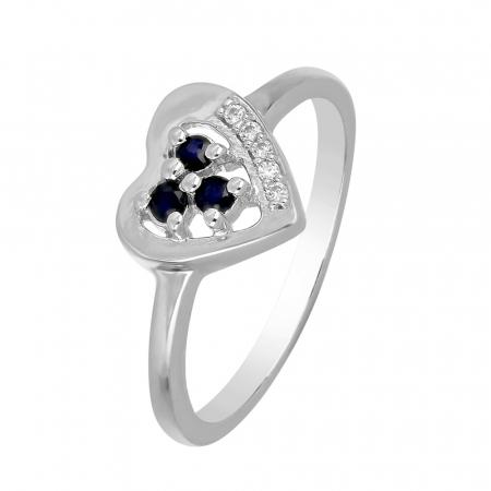 Inel argint inima cu 3 pietre de safir - IVA0106