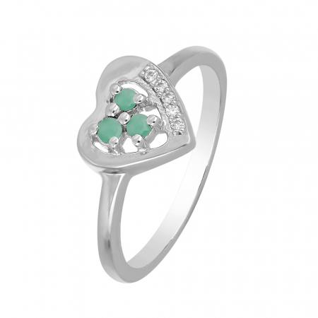 Inel argint inima cu 3 pietre de Smarald (Emerald) - IVA0107