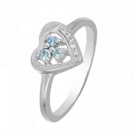 Inel argint inima cu 3 pietre de topaz - IVA0109