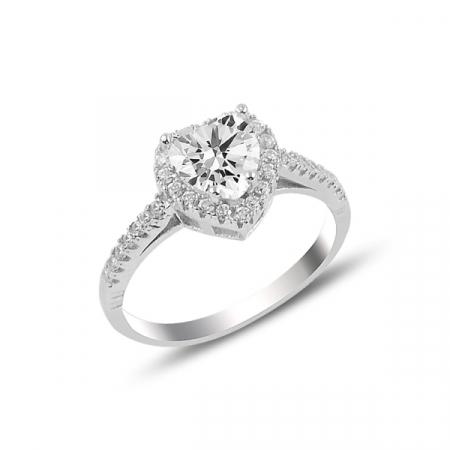 Inel argint Inima de Cristal cu zirconii albe, placat cu rodiu