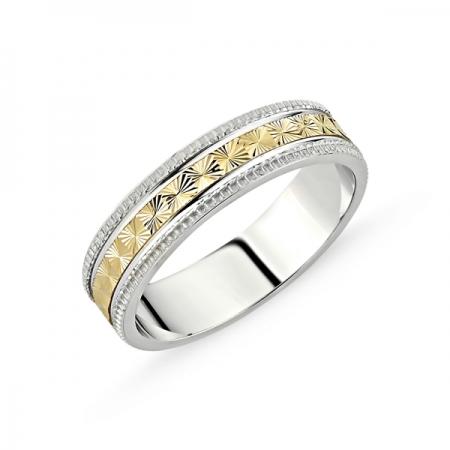 Inel argint lat cu banda placata cu aur cu model