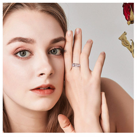Inel argint lat cu flori de cires japonez Infinit Love8