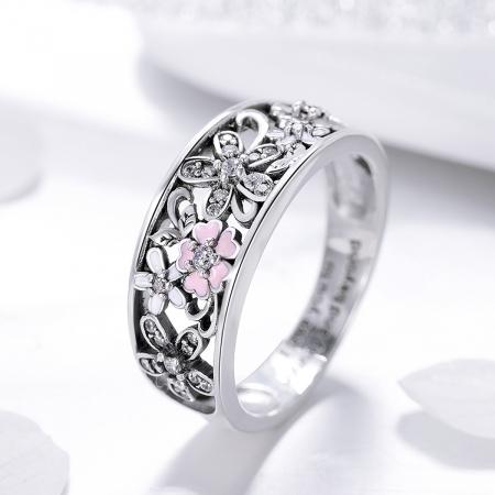 Inel argint lat cu flori de cires japonez Infinit Love4
