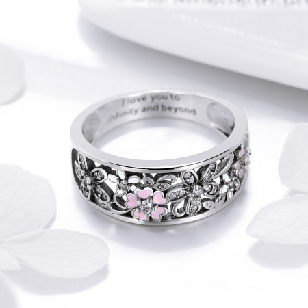 Inel argint lat cu flori de cires japonez Infinit Love3