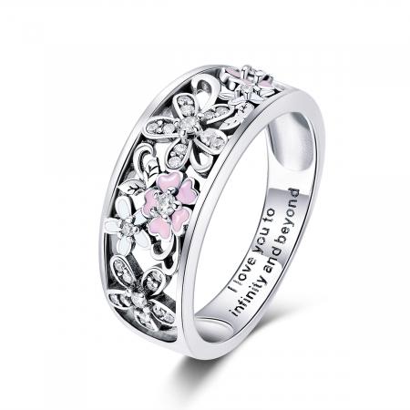 Inel argint lat cu flori de cires japonez Infinit Love